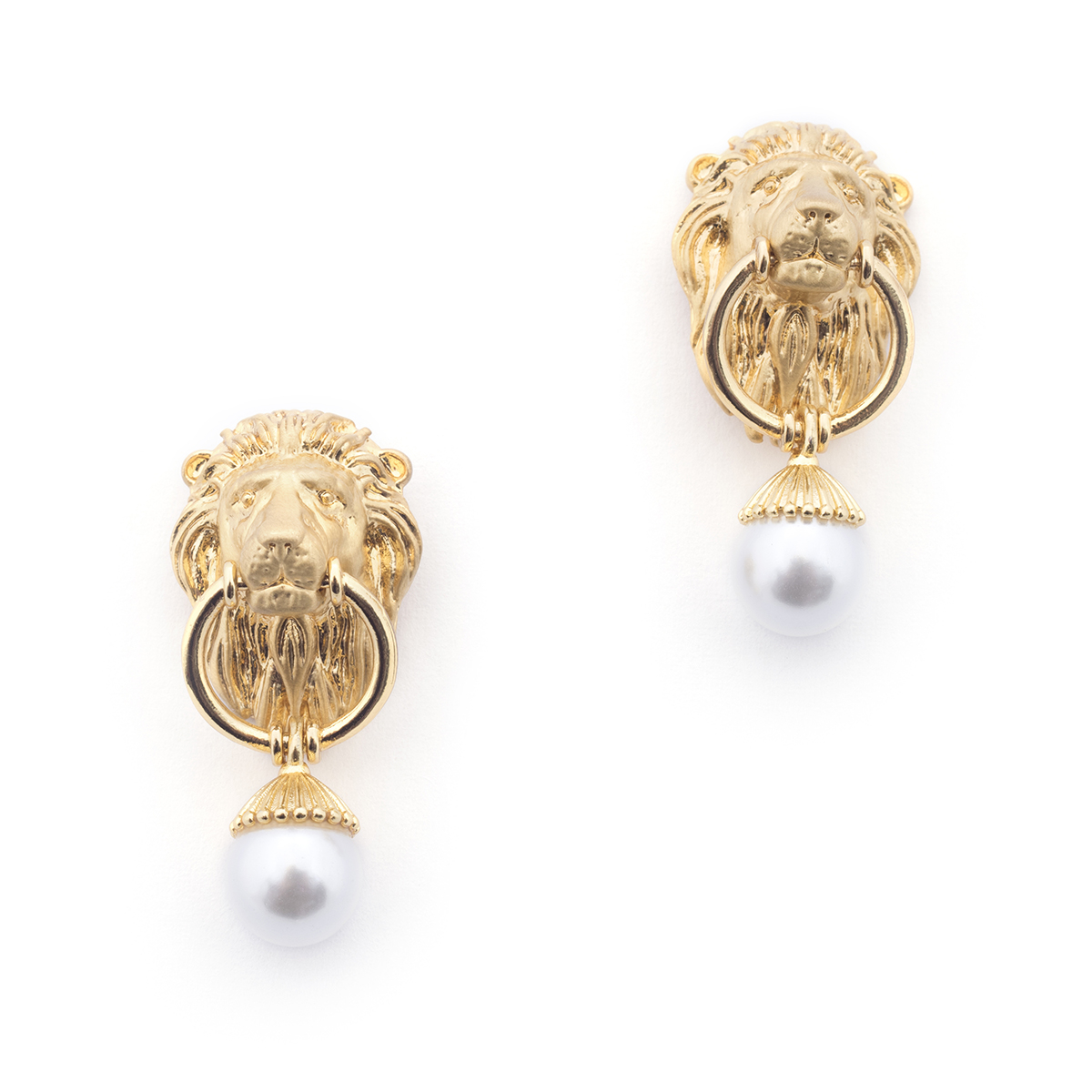 Lion & Pearl Drop Earrings