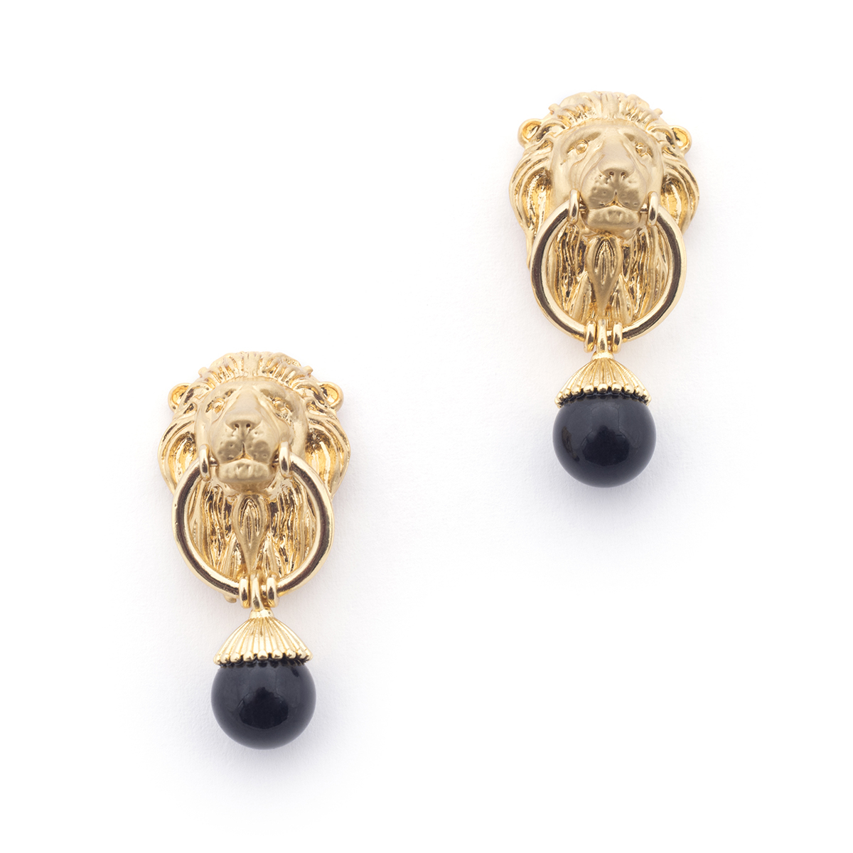 Lion & Onyx Drop Earrings