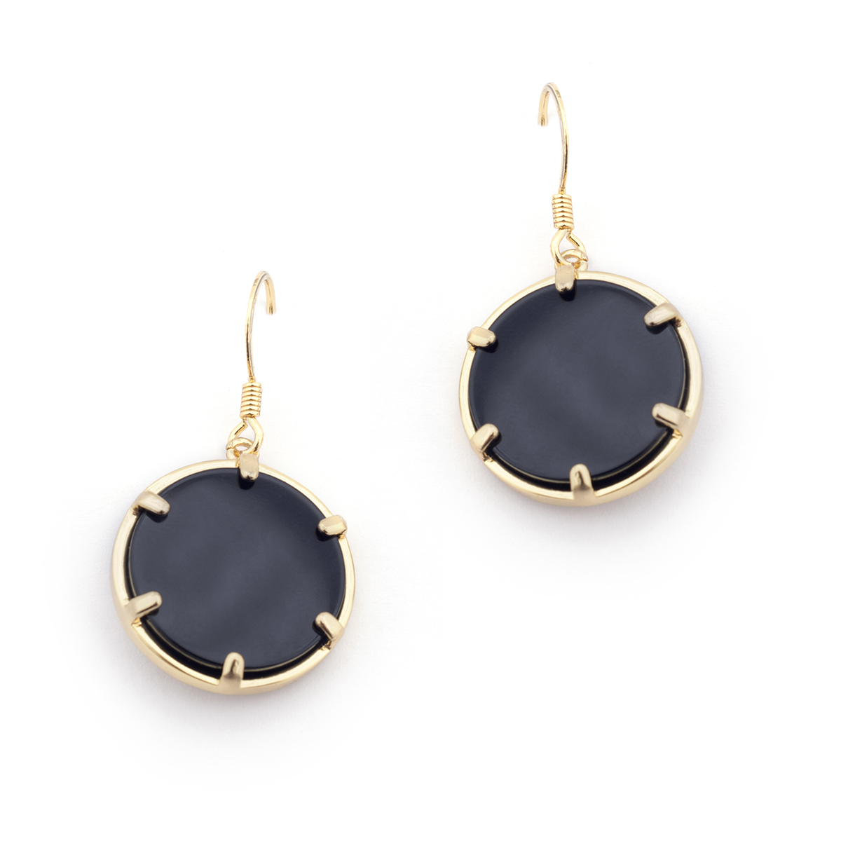 Filigree Disc Earrings - Onyx