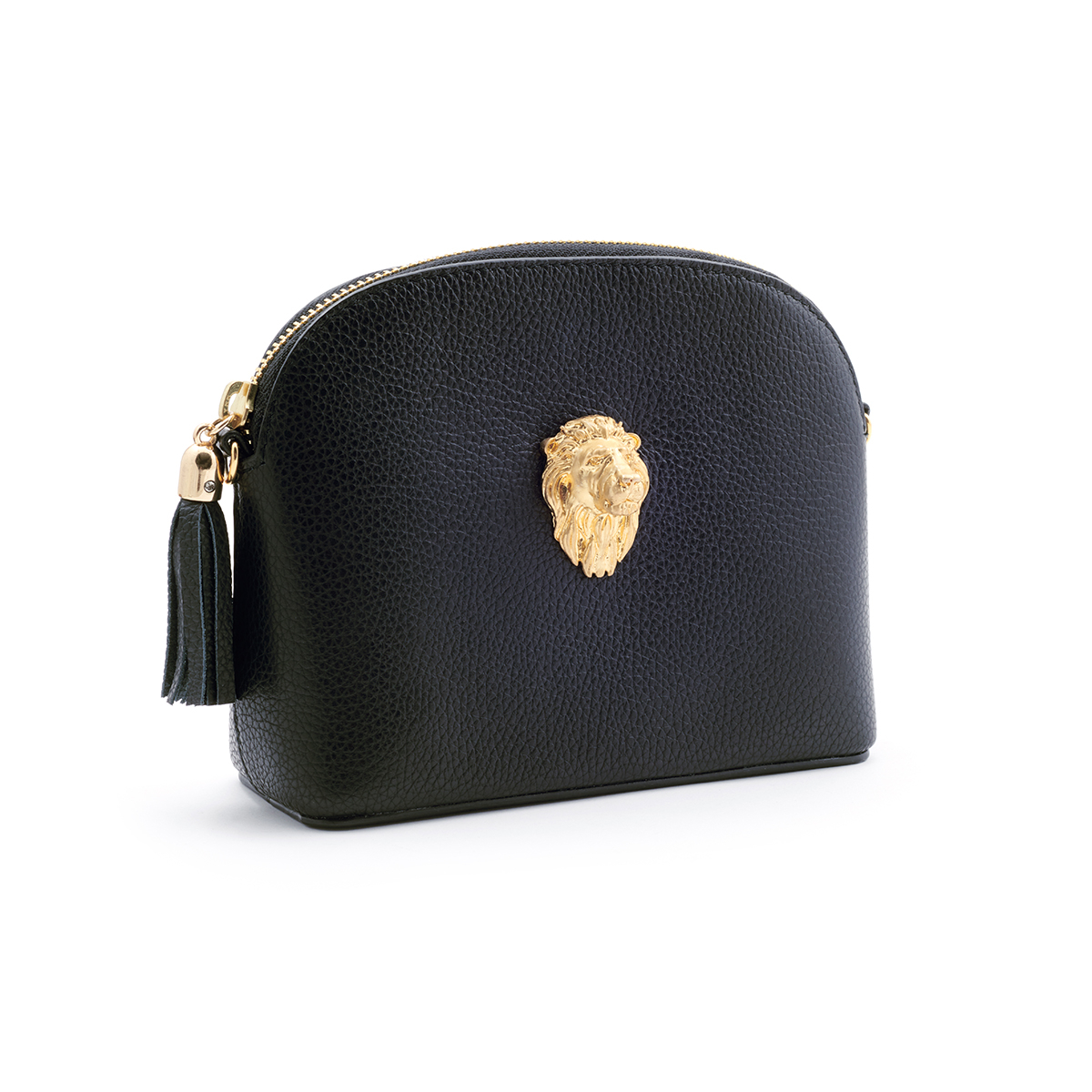 Lion Leather Handbag - Black