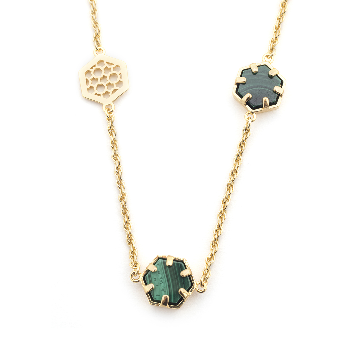 Filigree Hexagon Long Necklace - Malachite