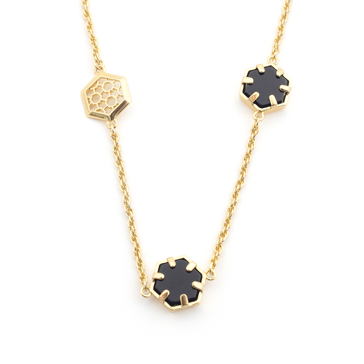 Filigree Hexagon Long Necklace - Onyx