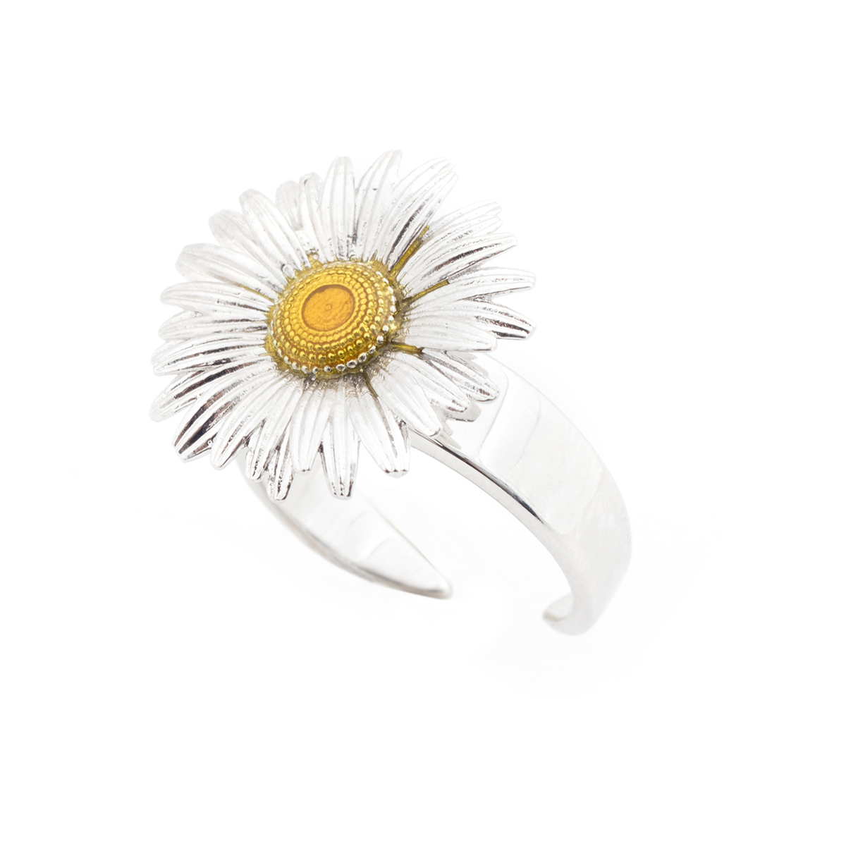 Daisy Open Ring - Rhodium