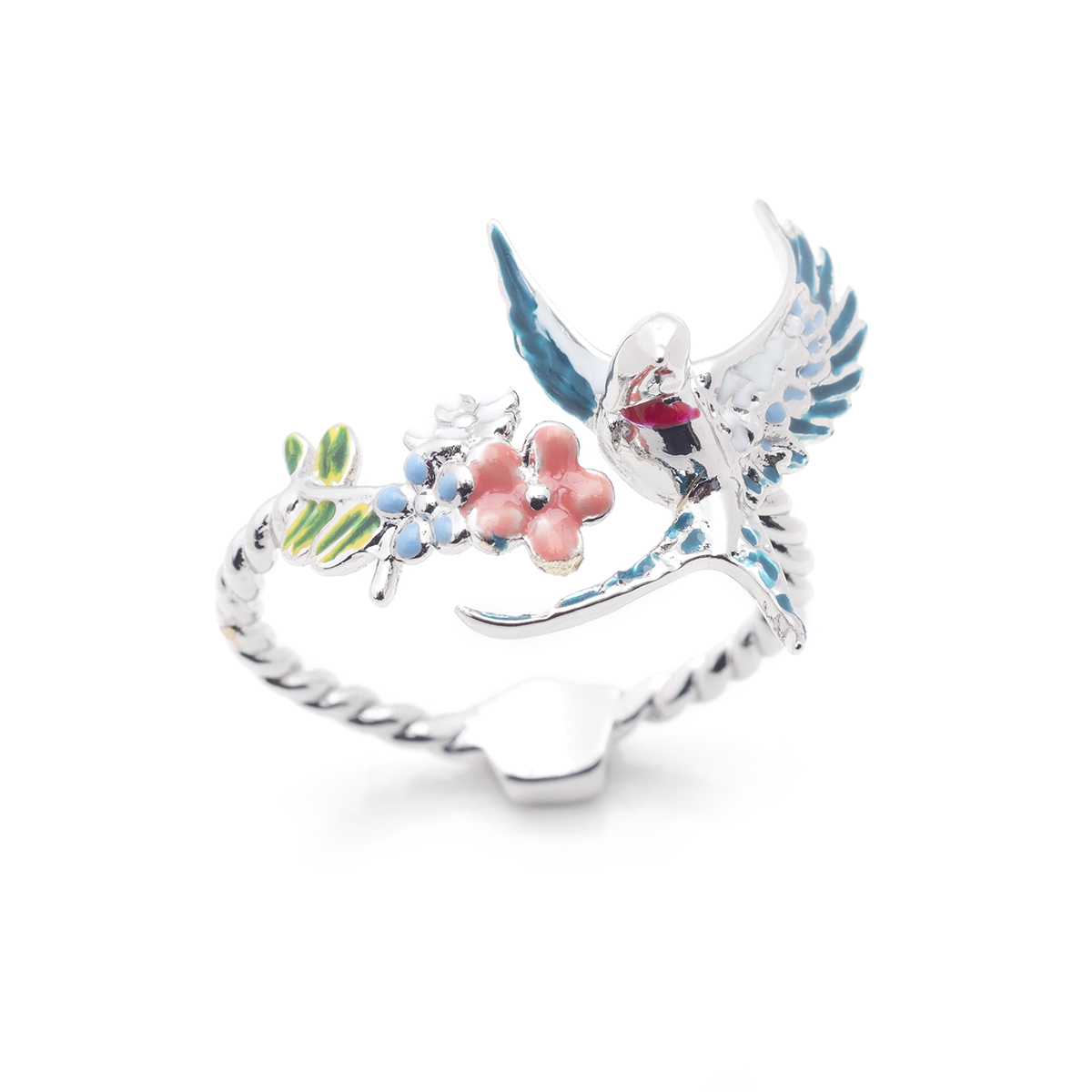 Swallow Open Ring - Rhodium