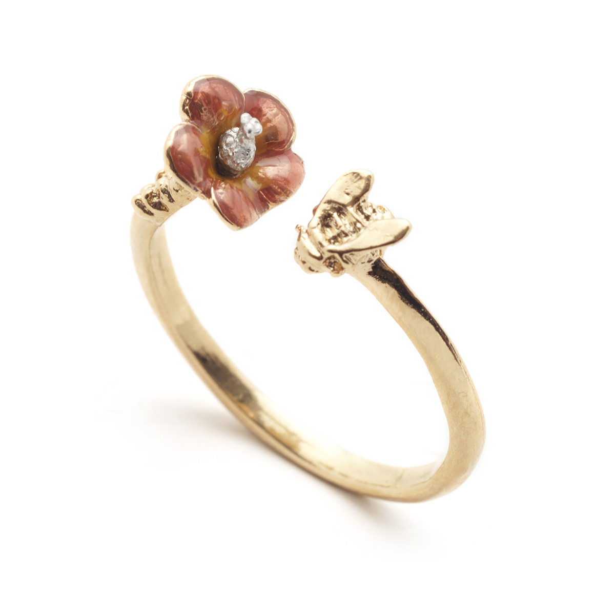 Tropical Bee Open Ring - Gold