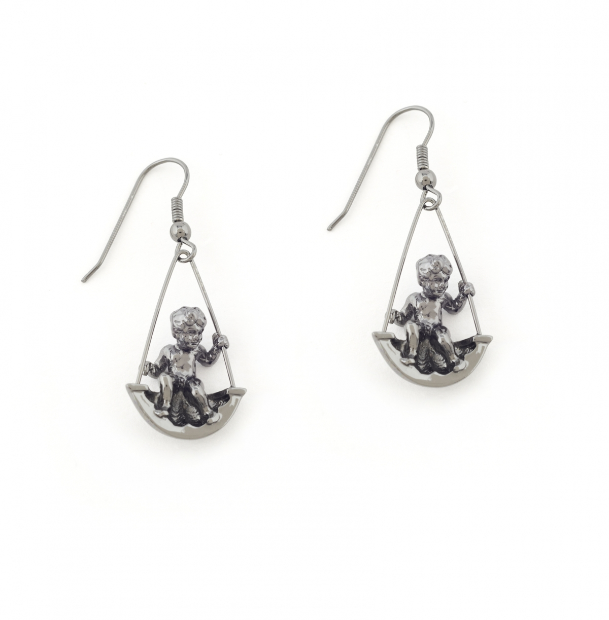 Mini Cherub Swing Earrings (ruthenium)