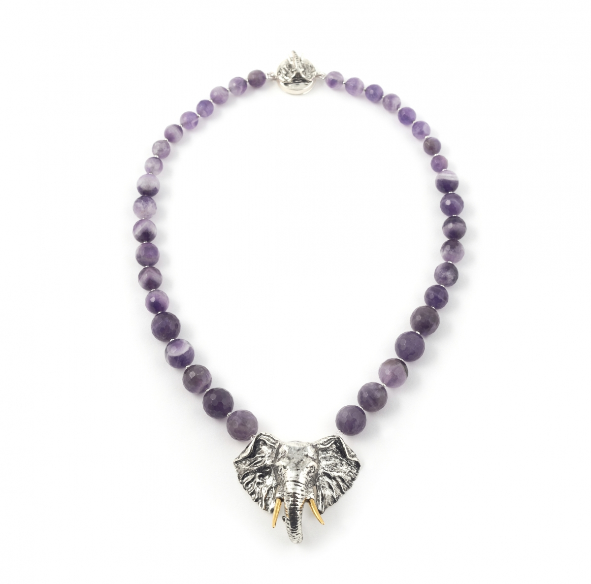 ONLINE EXCLUSIVE Maxi Elephant Head Necklace (amethyst)