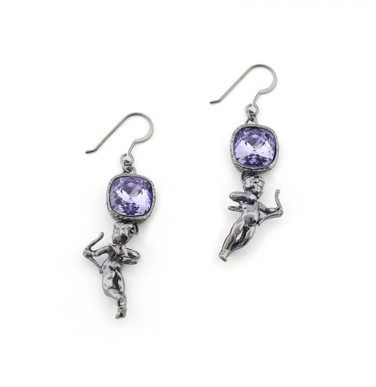 Mini Cherub Crystal Earrings (ruthenium)