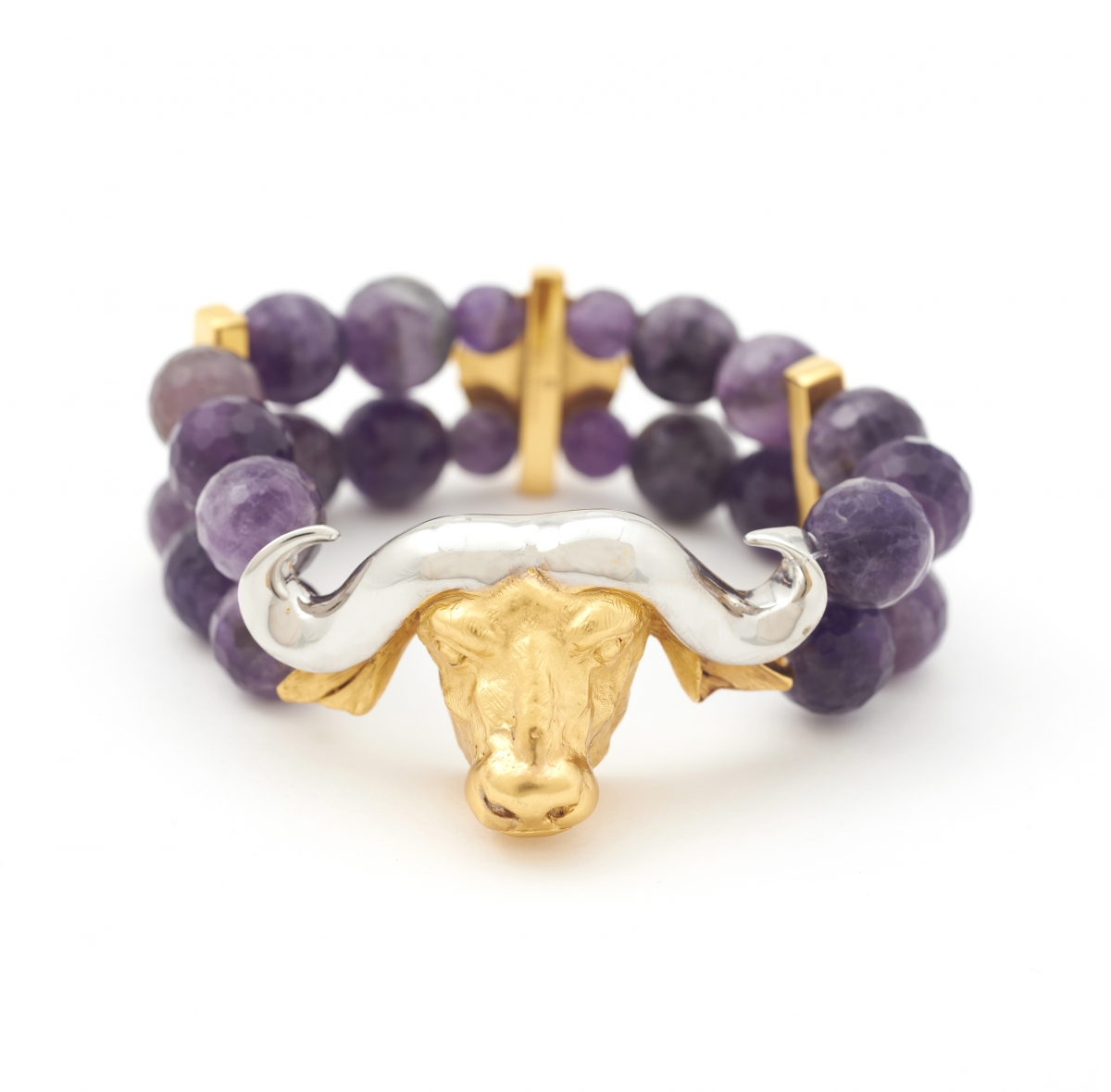 Maxi Buffalo Head Stretch Bracelet (amethyst)