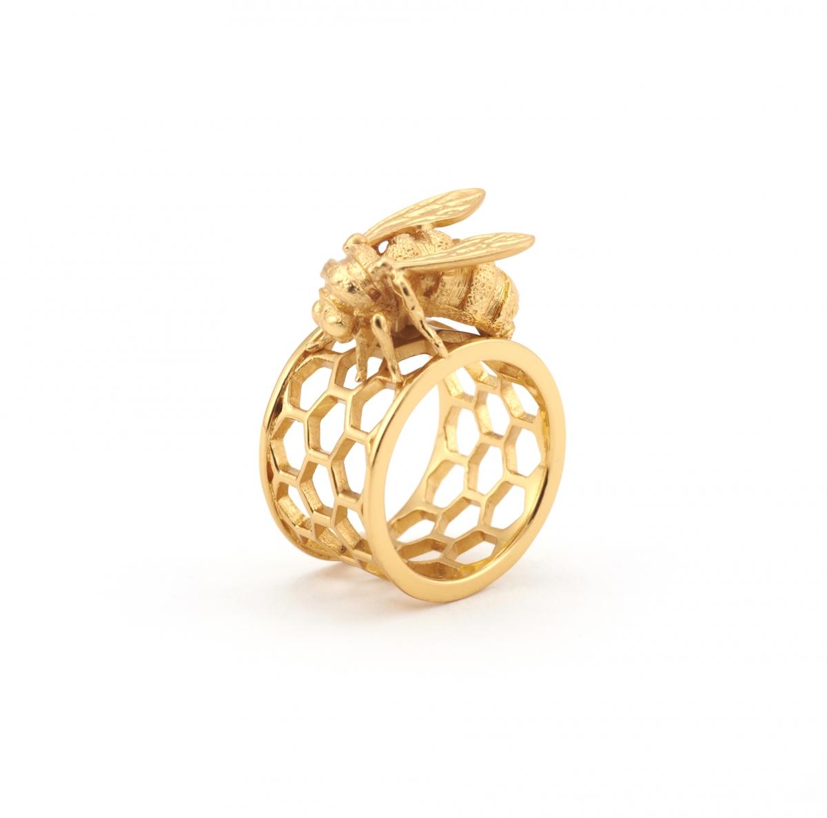 bee honeycomb ring fashion jewellery