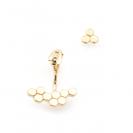 Micro Bee Hexagon Through Earring With Bee Stud Gold