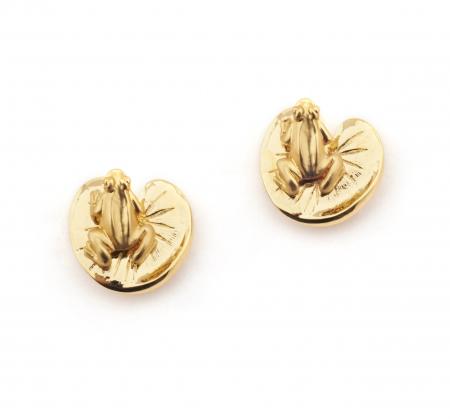 Frog Amp Lilipad Stud Earrings Fashion Jewellery