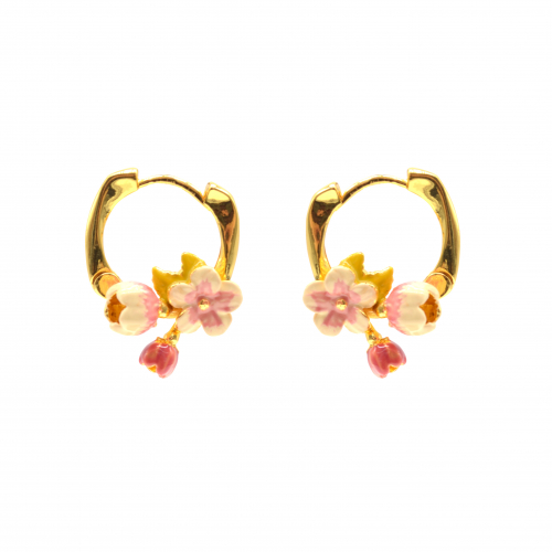 Cherry Blossom Small Hoop Earrings