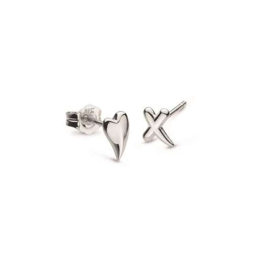 Silver Desire Kiss Mini Heart & 'X' Stud Earrings