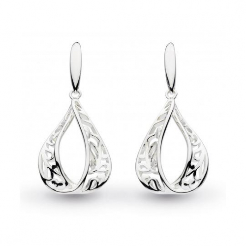 Silver Blossom Flourish Tear Drop Earrings