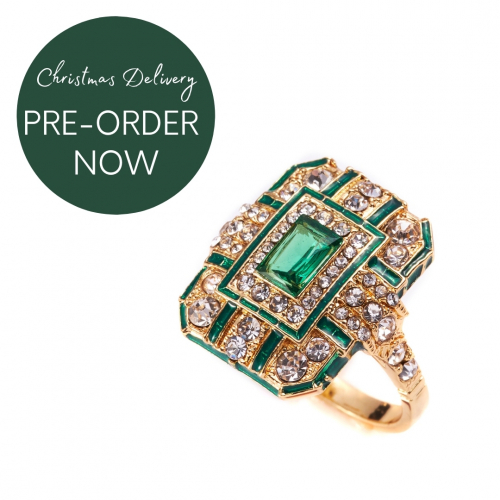 Art Deco Ring - Gold/Green
