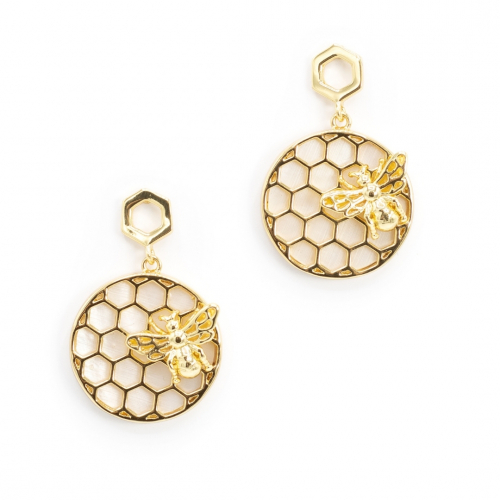 Bee & Honeycomb Pearl Disc Earrings