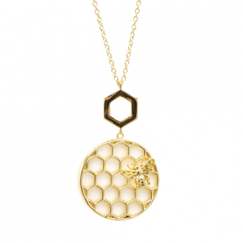 Bee & Honeycomb Pearl Disc Necklace