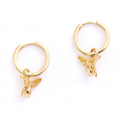 Mini Queen Bee Huggie Hoops