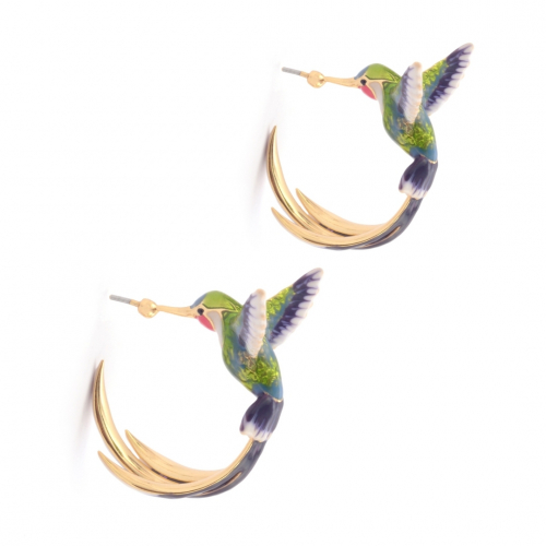 Bird of Paradise Hoops - Green