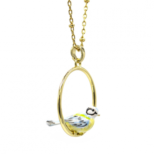 Blue Tit Hoop Necklace