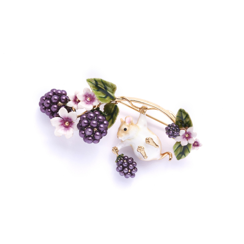 Blackberry & Mouse Brooch