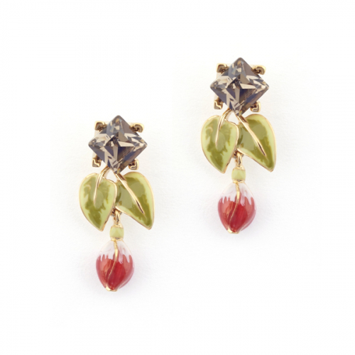 Fuchsia Leaf Crystal Drop Earring