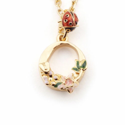 Floral Initial Pendant - O
