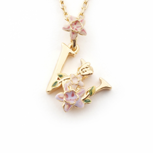 Floral Initial Pendant - W