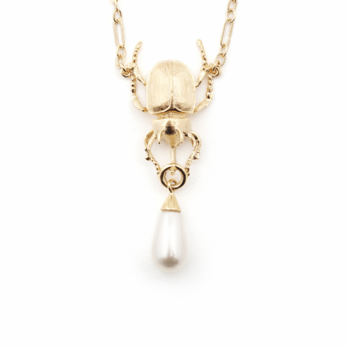Gold Beetle Necklace - Pearl
