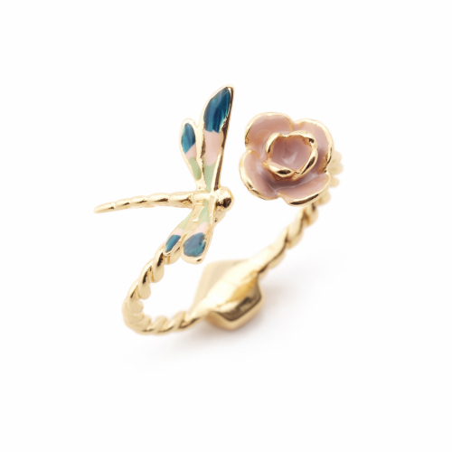 Dragonfly Rose Open Ring - Gold