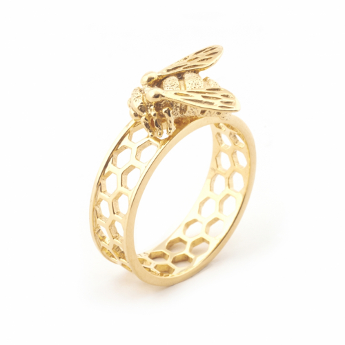 Baby Bee & Honeycomb Ring Gold