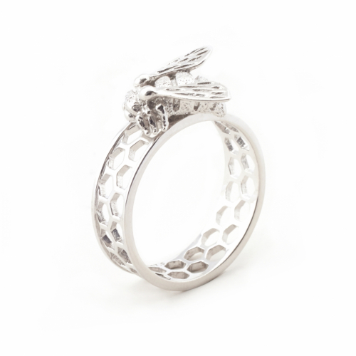 Baby Bee & Honeycomb Ring Silver