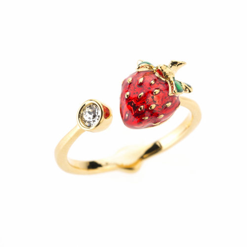 Strawberry & Crystal Open Ring