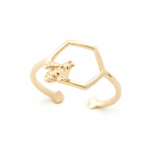 Bee & Hexagon Open Ring - Gold