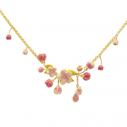 Cherry Blossom Statement Necklace - Gold
