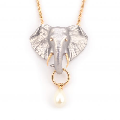Elephant Pearl Drop Necklace