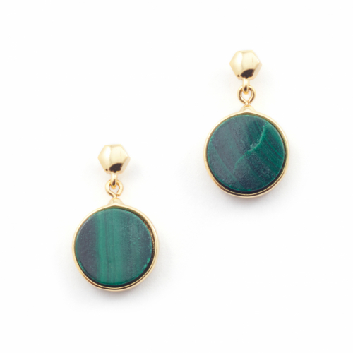Filigree Disc Stud Mini - Malachite