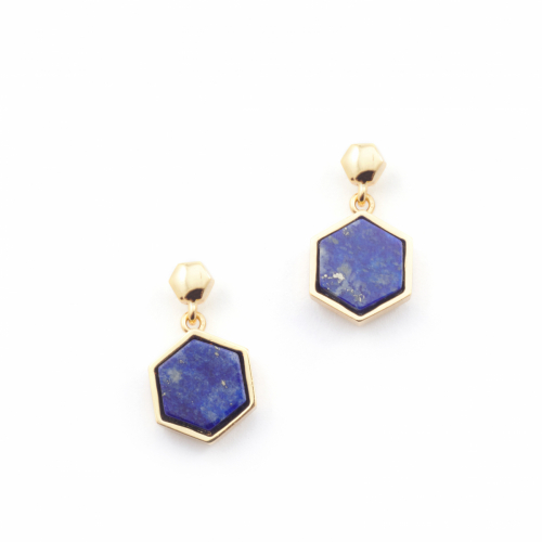 Filigree Hexagon Studs - Lapis