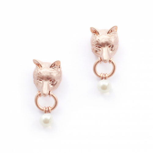 Fox Stud Drop Earrings - Rose Gold