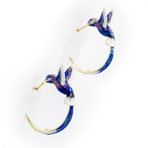 Bird of Paradise Hoops - Blue
