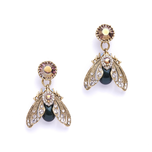 Bejewelled Moth Drop Earrings
