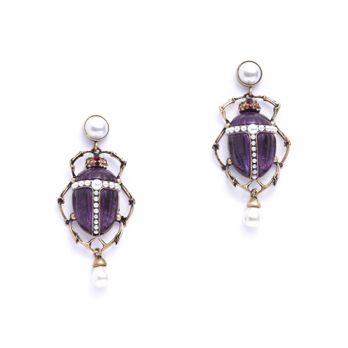 Bejewelled Scarab Beetle Earrings