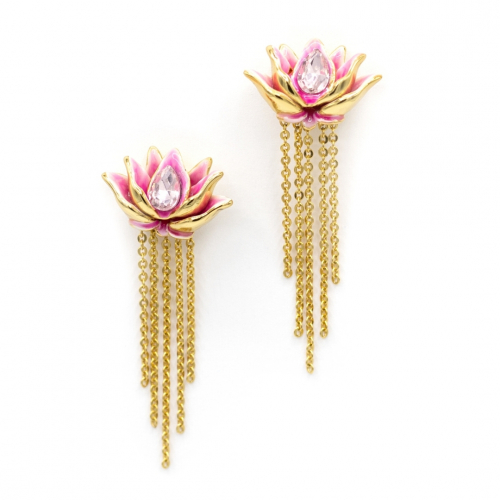 Lotus Flower Drop Earrings