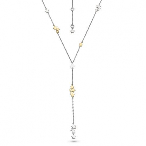 Silver & Gold Star Lariat Necklace