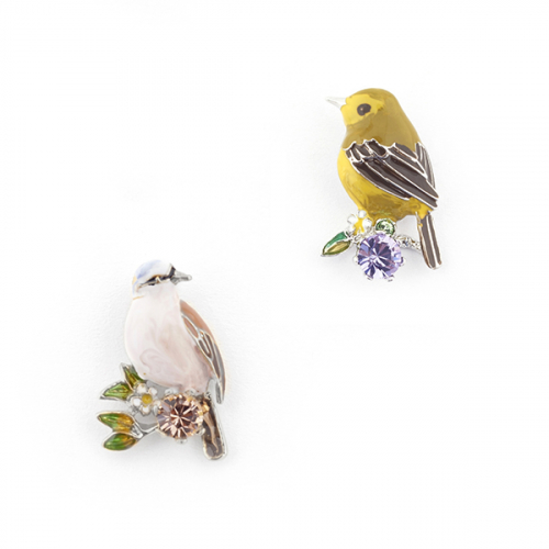 Sparrow & Gold Crest Studs (Gold)