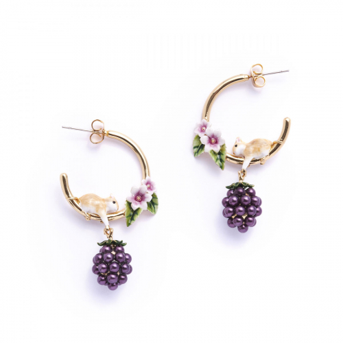 Blackberry & Mouse Hoop Earrings