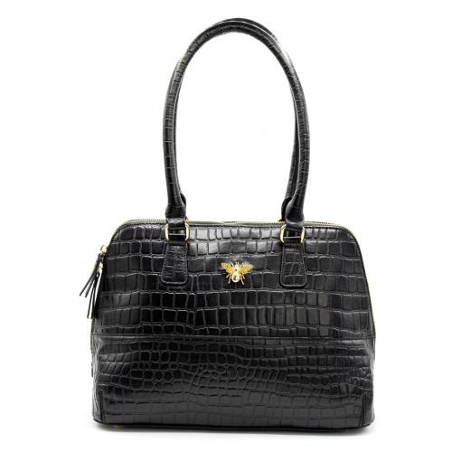 Queen Bee Cecile Croc Bag - Black