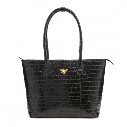 Queen Bee Croc Tote Bag - Black
