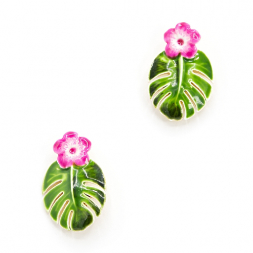 Tropical Monstera Leaf Studs